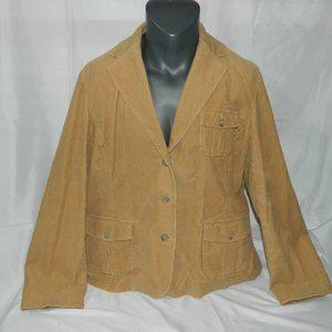 Land's End Womens 18W Tan Corduroy Blazer Jacket